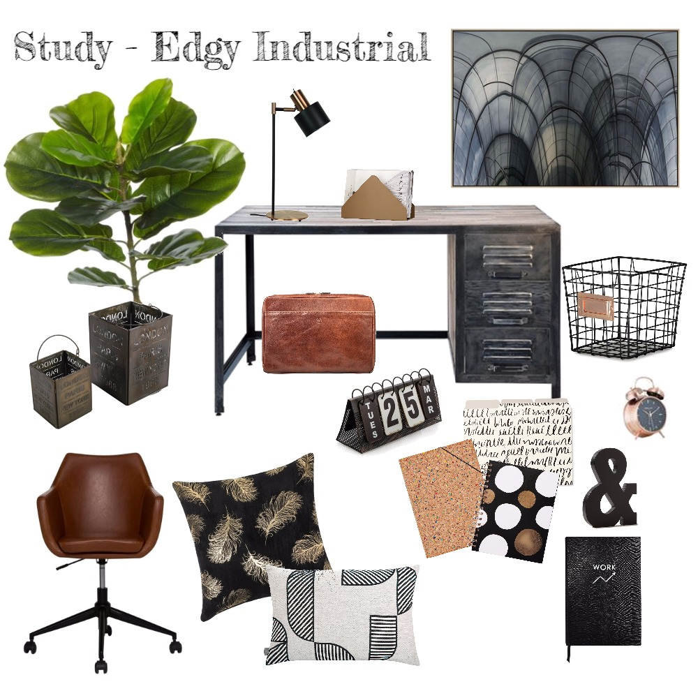Study - Edgy Industrial Interior Design Mood Board by Harvey Interiors on Style Sourcebook
