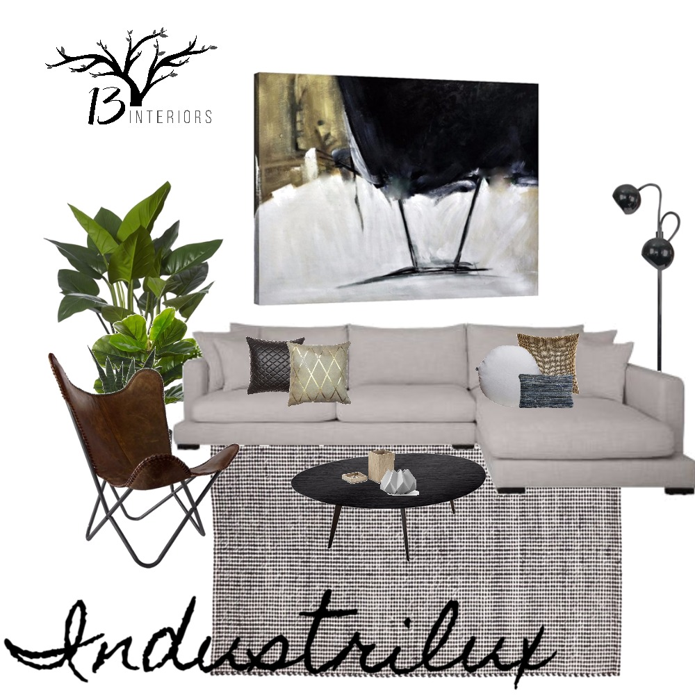 Lounge Room- Industrilux Style Interior Design Mood Board by 13 Interiors on Style Sourcebook