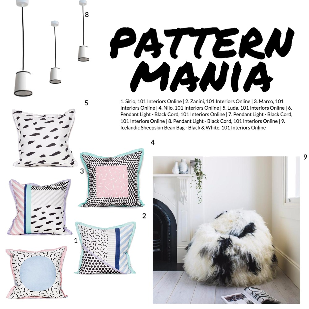 Pattern Mania Mood Board by 101 Interiors Online on Style Sourcebook