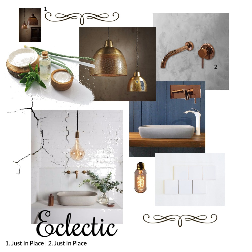 Eclectic Bathroom Mood Board by Just In Place on Style Sourcebook