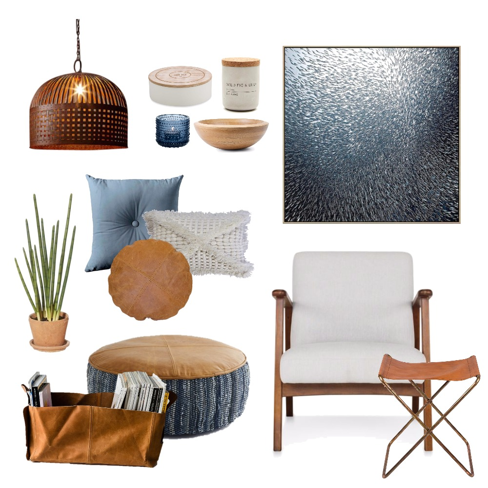 Leather and blue Mood Board by Thediydecorator on Style Sourcebook