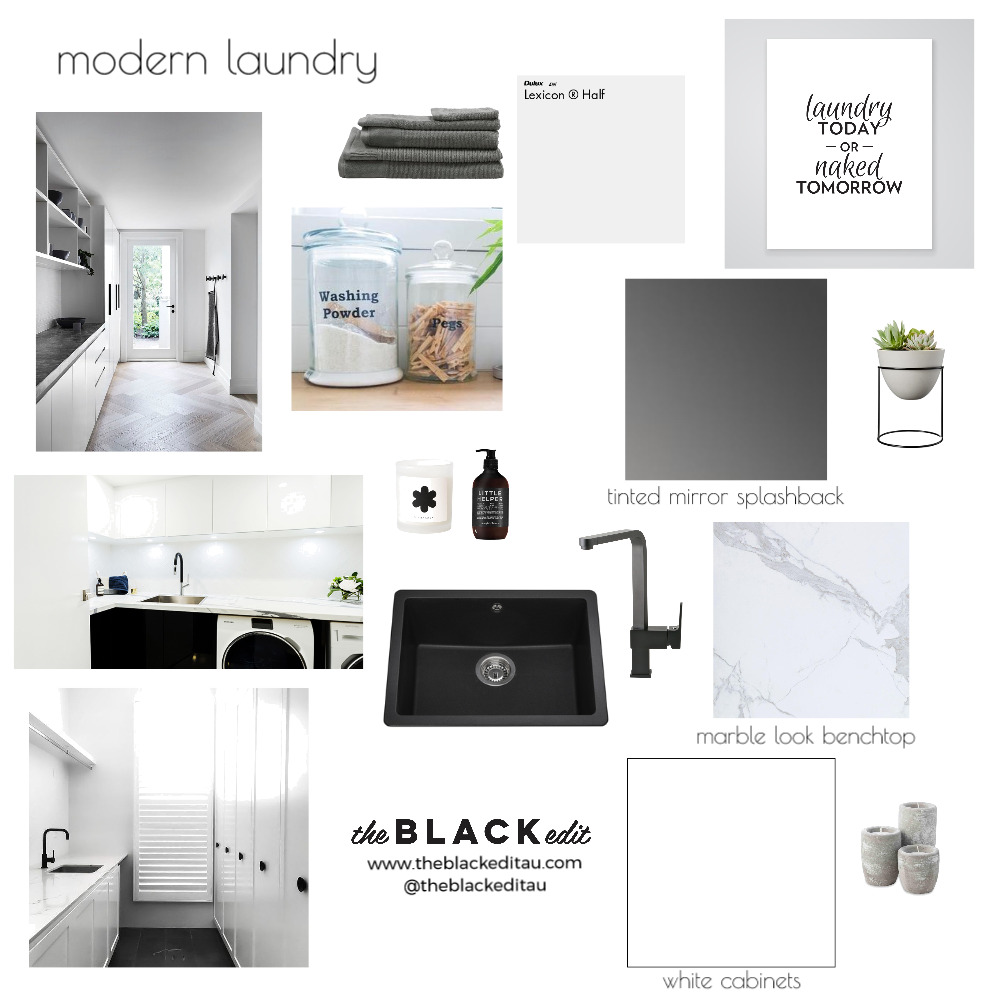 Modern Laundry Mood Board by the BLACK edit on Style Sourcebook