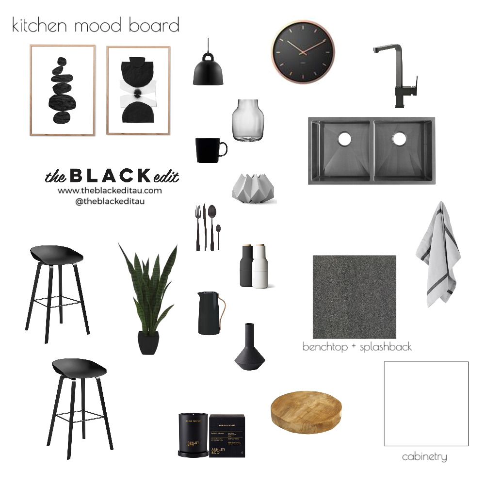 Kitchen Mood Board Mood Board by the BLACK edit on Style Sourcebook
