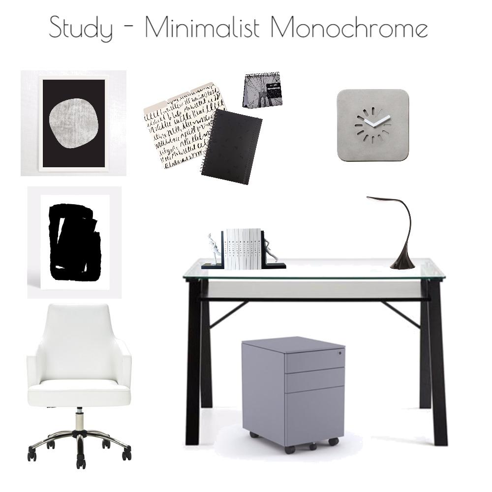 Study - Minimalist Monochrome Mood Board by Harvey Interiors on Style Sourcebook