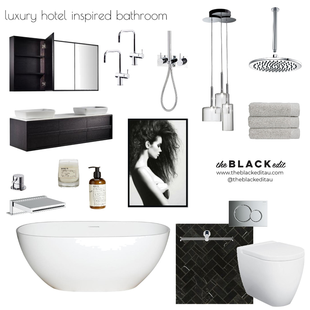 Luxury Hotel Inspired Bathroom Mood Board by the BLACK edit on Style Sourcebook
