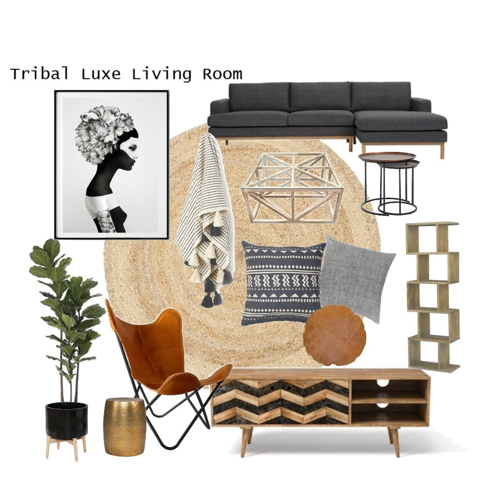 Tribal Luxe Living Room Mood Board by AnnabelFoster on Style Sourcebook