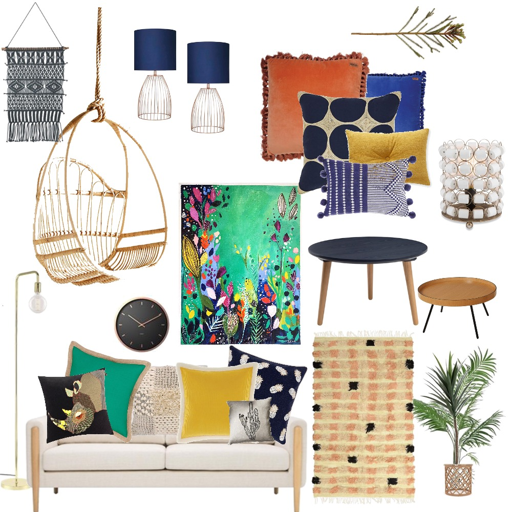 Eclectic Bohemian Living Room Mood Board by GreenStudioBlue on Style Sourcebook