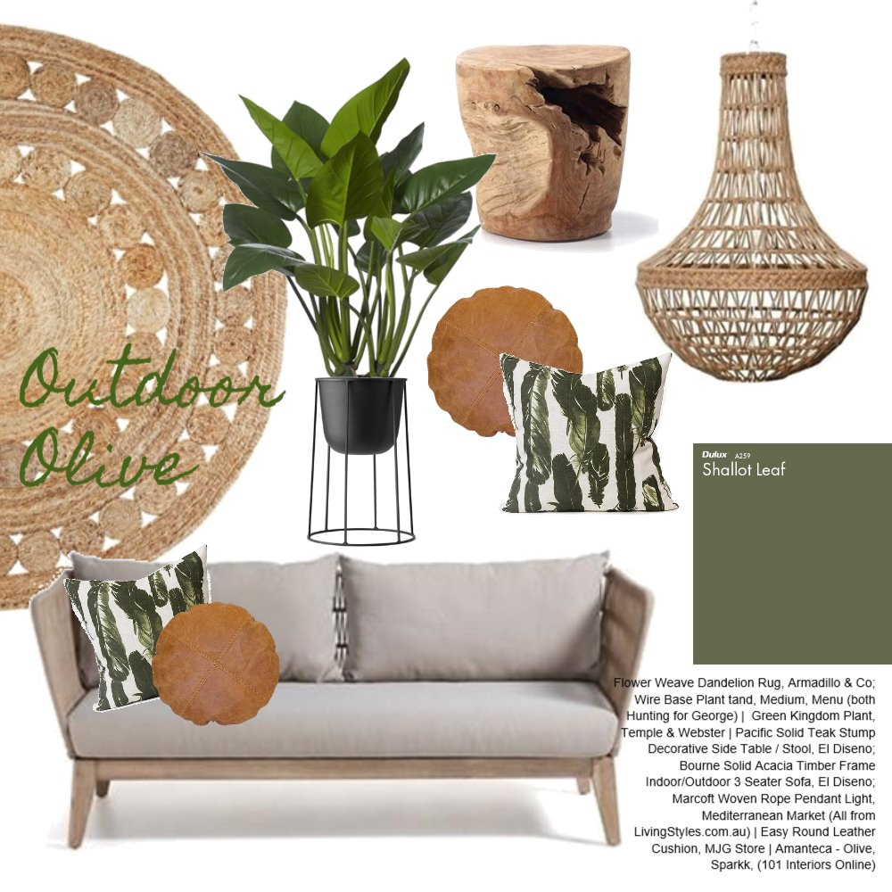 Olive Outdoor Area Interior Design Mood Board by AnnabelFoster on Style Sourcebook