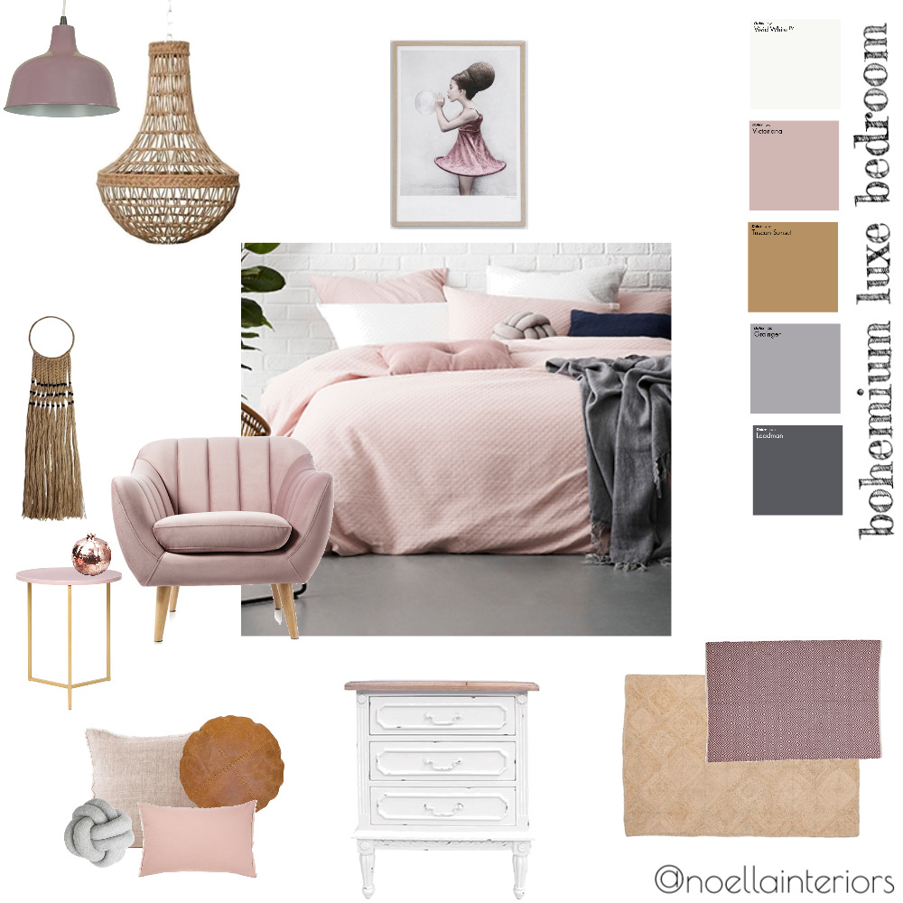 bohemium luxe bedroom Interior Design Mood Board by noellainteriors on Style Sourcebook