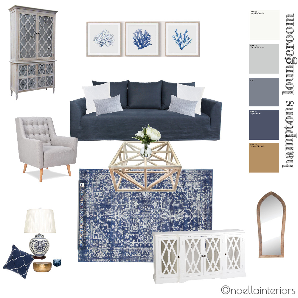 hamptons loungeroom Interior Design Mood Board by noellainteriors on Style Sourcebook