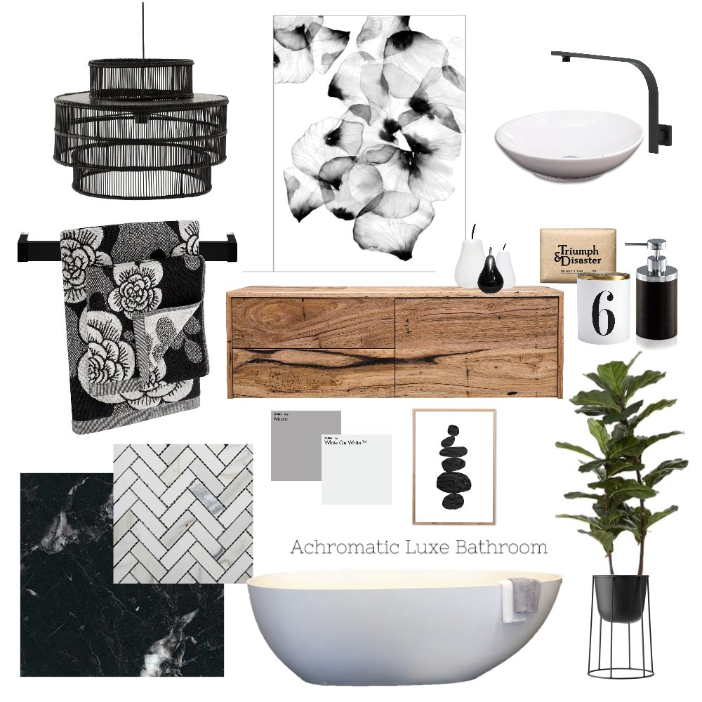 Achromatic Luxe Bathroom Interior Design Mood Board by AnnabelFoster on Style Sourcebook
