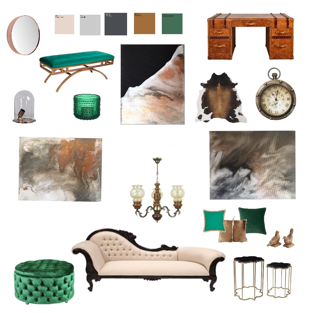 Brown and Emerald Mood Board by michellejeanstudio on Style Sourcebook