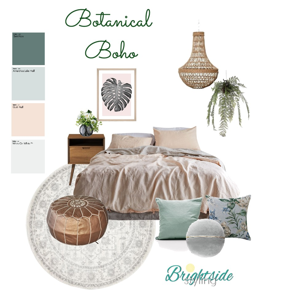 Botanical Boho Interior Design Mood Board by brightsidestyling on Style Sourcebook