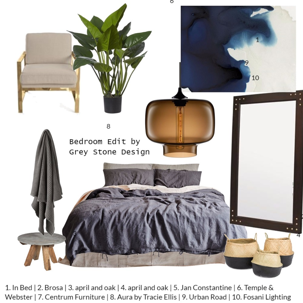 bedroom edit Interior Design Mood Board by Greystonedesign on Style Sourcebook