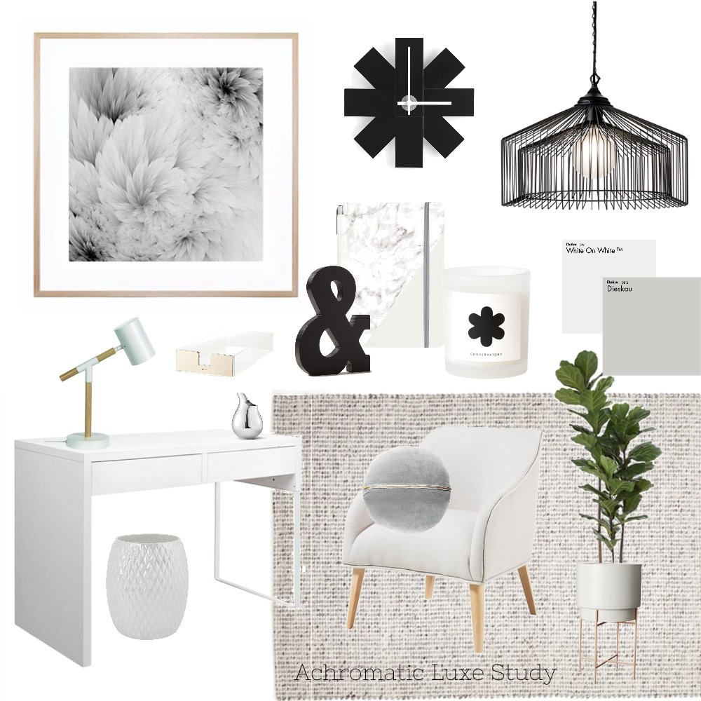 Achromatic Luxe Study Mood Board by AnnabelFoster on Style Sourcebook