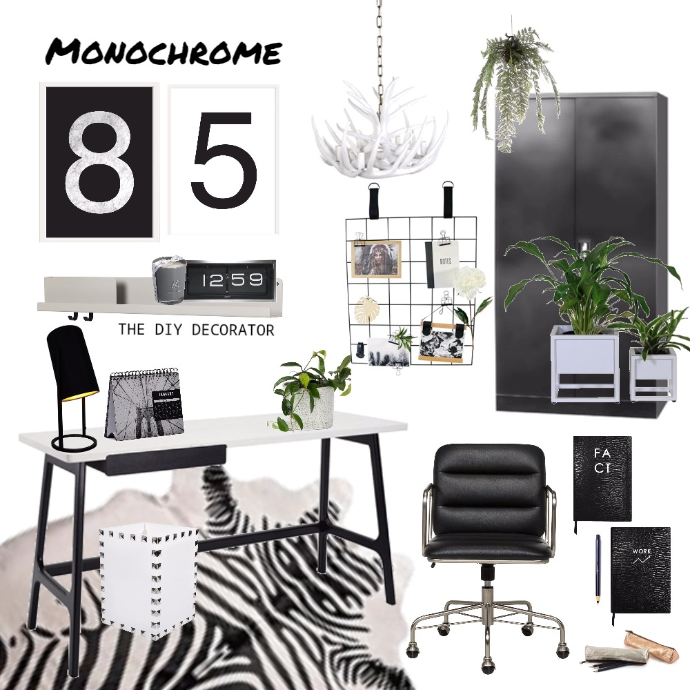 Monochrome office Mood Board by Thediydecorator on Style Sourcebook