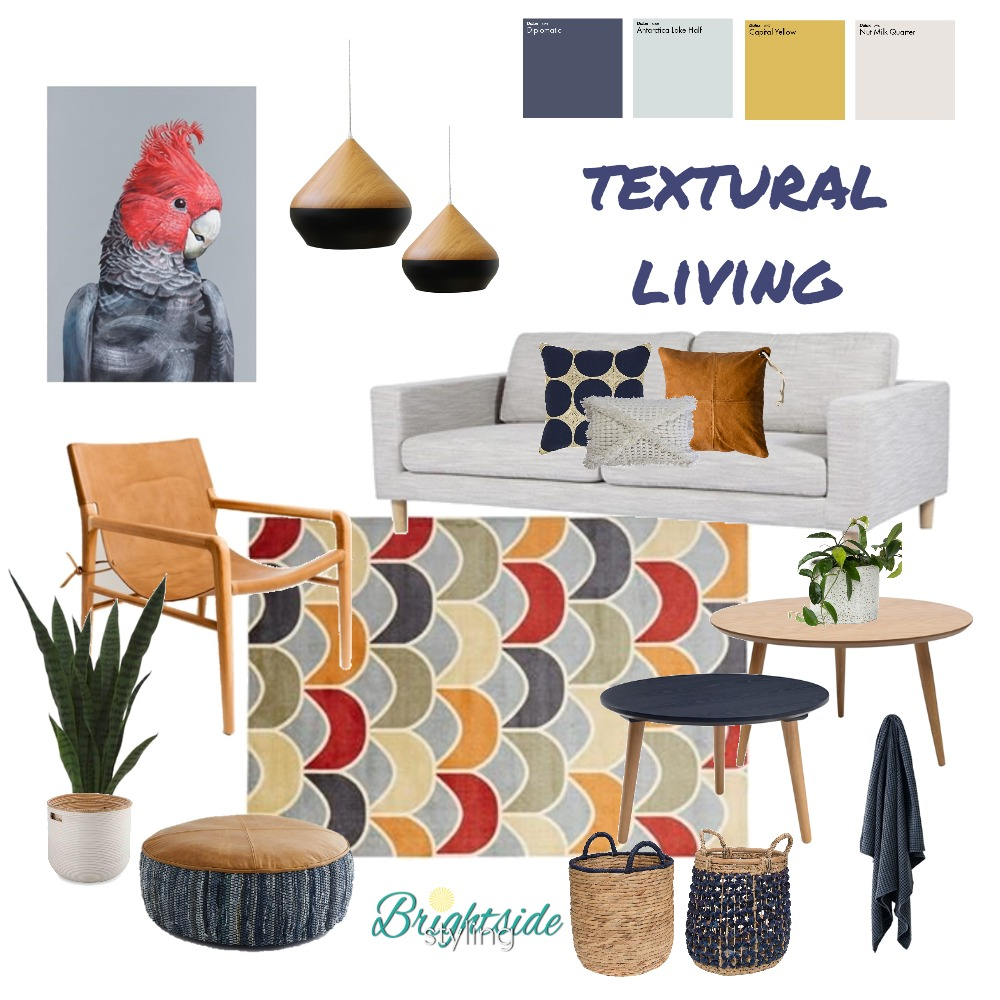 Textural Living Mood Board by brightsidestyling on Style Sourcebook
