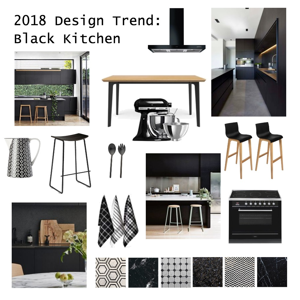 2018 Design Trend: Black Kitchen Interior Design Mood Board by brightsidestyling on Style Sourcebook