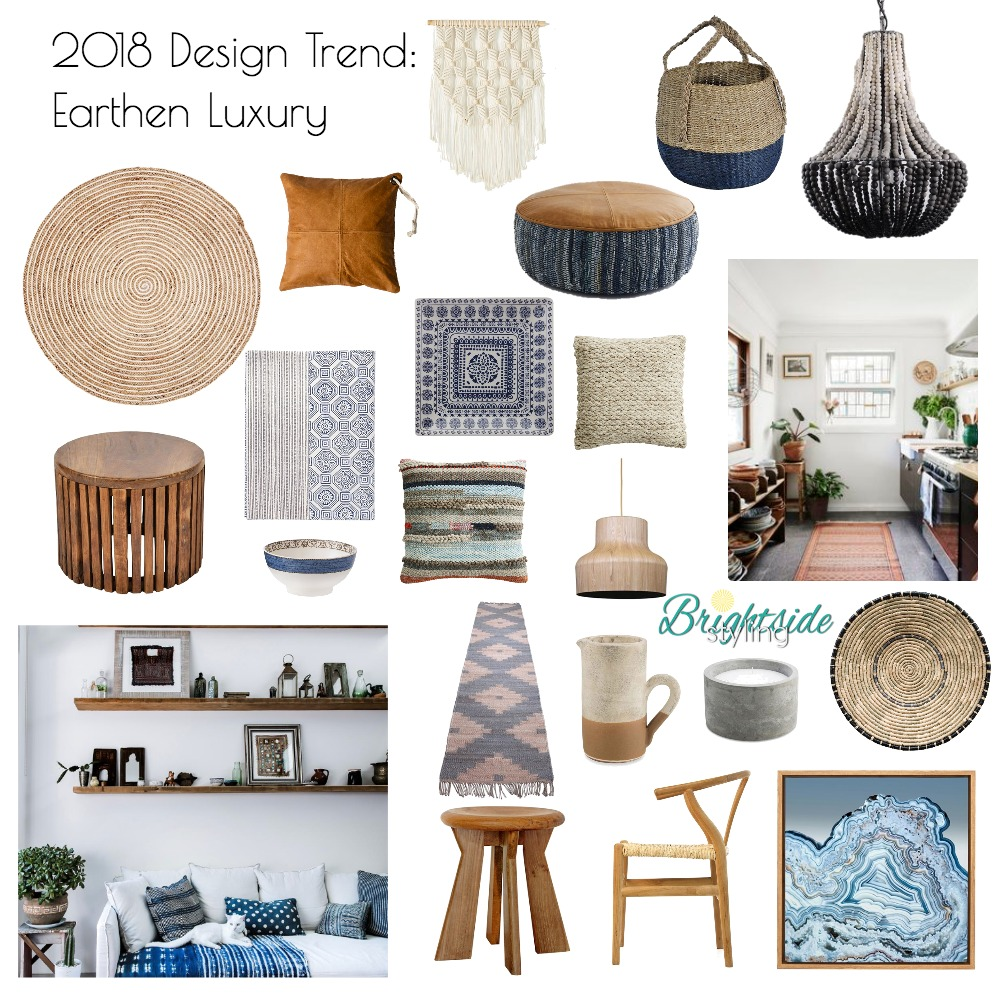 2018 Design Trend: Earthen Luxury Mood Board by brightsidestyling on Style Sourcebook