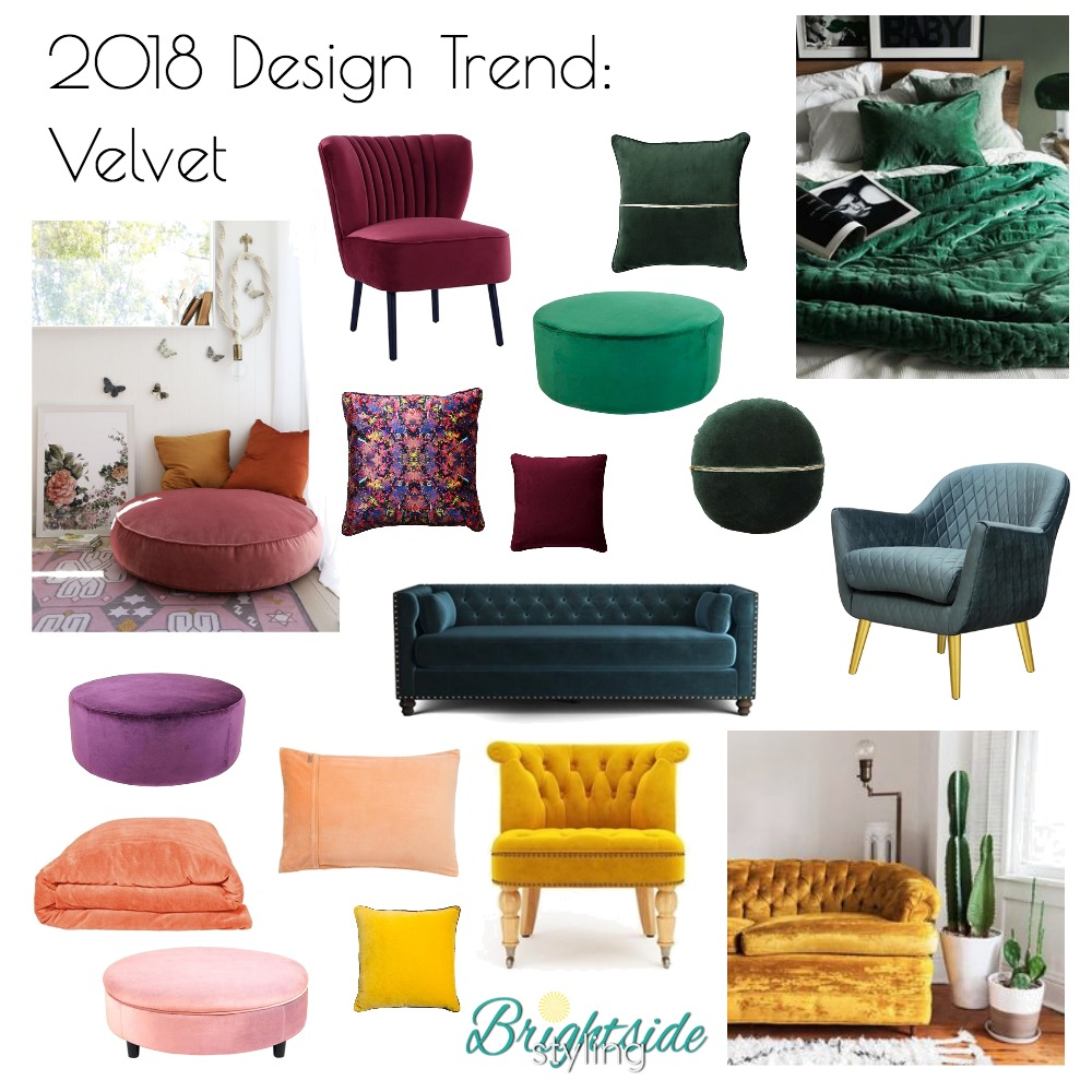 2018 Design Trend: Velvet Mood Board by brightsidestyling on Style Sourcebook