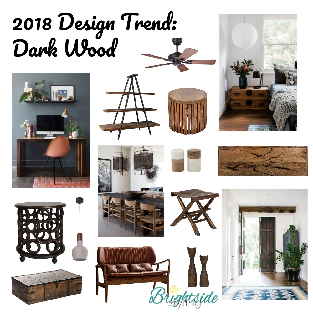 2018 Design Trend: Dark Wood Mood Board by brightsidestyling on Style Sourcebook