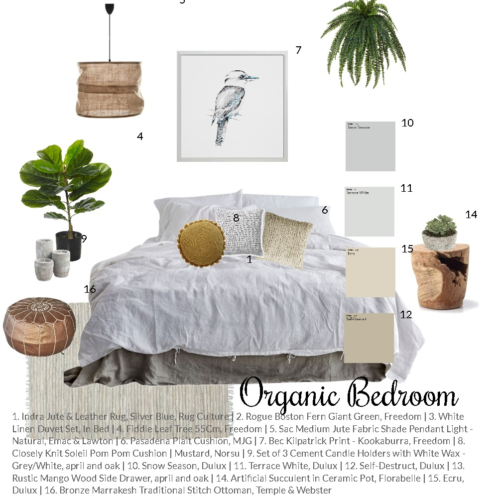 Organic Bedroom Mood Board by thebohemianstylist on Style Sourcebook