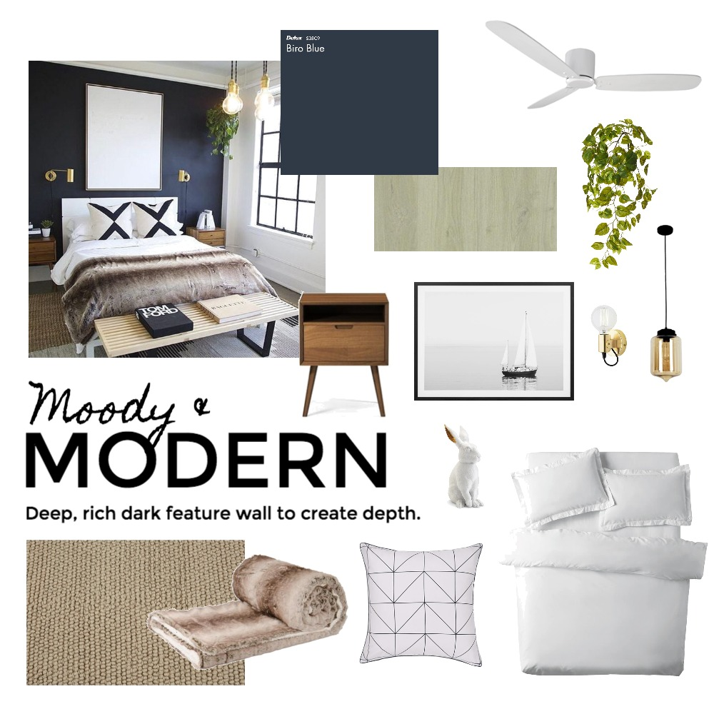 Modern & moody bedroom Interior Design Mood Board by MagdelMuller on Style Sourcebook