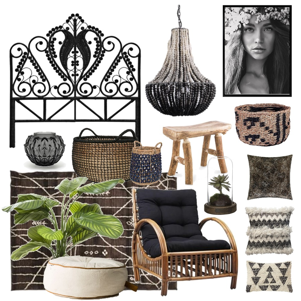 Black Boho Mood Board by Thediydecorator on Style Sourcebook