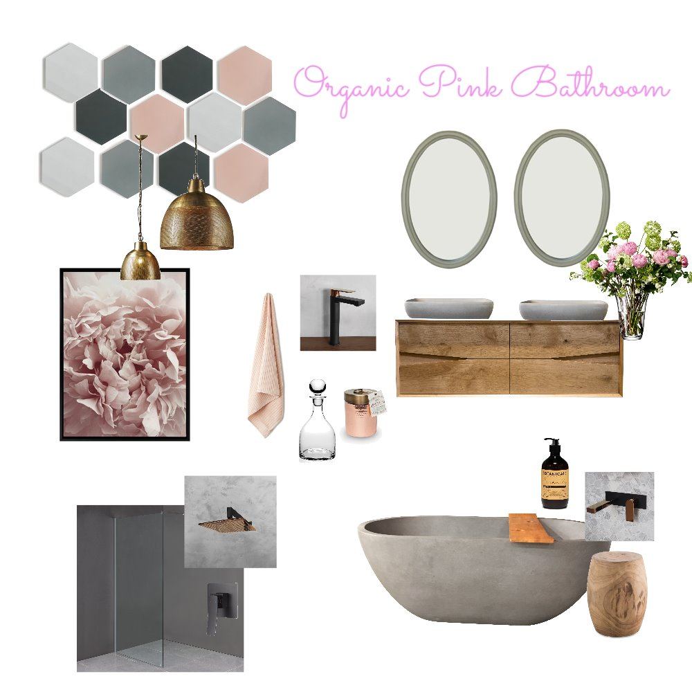 Pretty Organic Bathroom Interior Design Mood Board by HiddenInteriors on Style Sourcebook