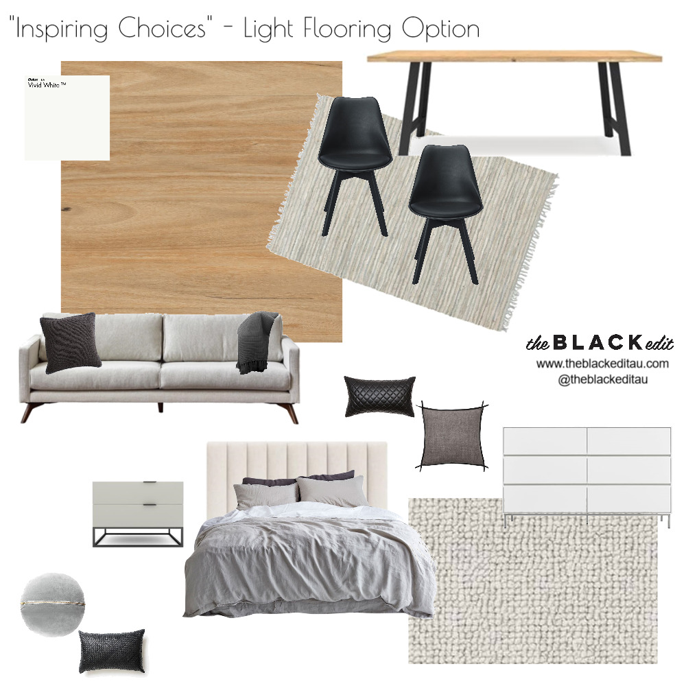 Inspiring Choices - Light Flooring Option Interior Design Mood Board by the BLACK edit on Style Sourcebook
