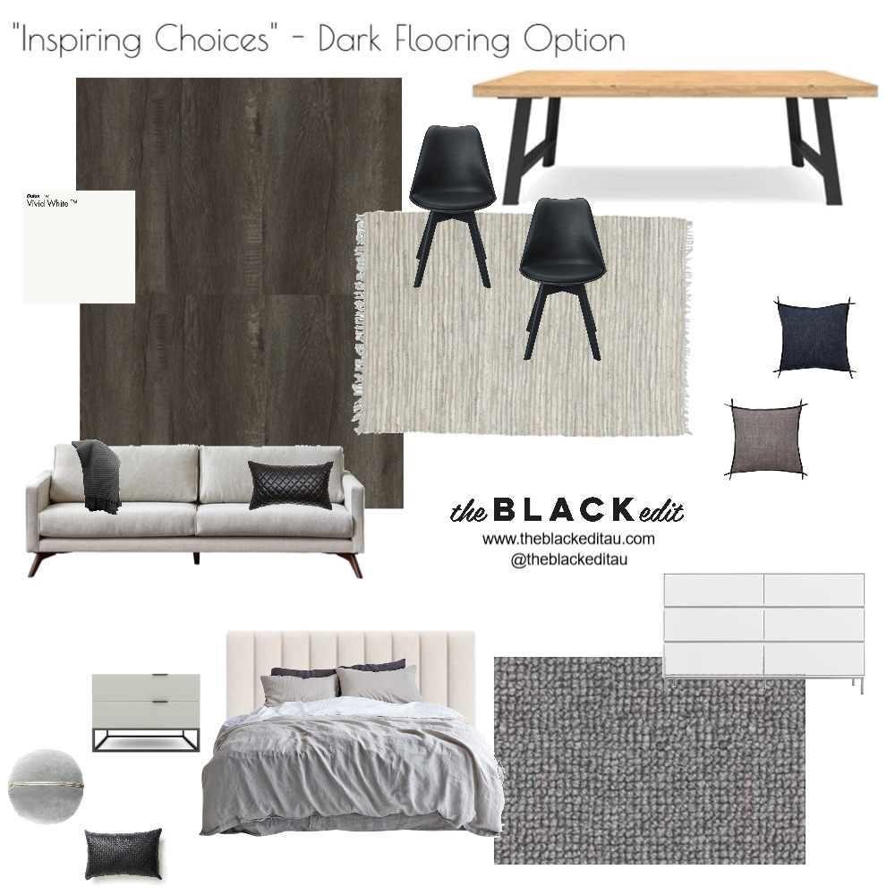 Inspiring Choices - Dark Flooring Option Interior Design Mood Board by the BLACK edit on Style Sourcebook