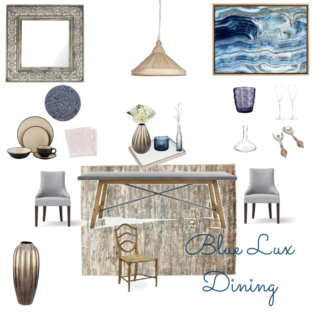 Blue Lux Dining Mood Board by the.stuff.and.the.thangs on Style Sourcebook