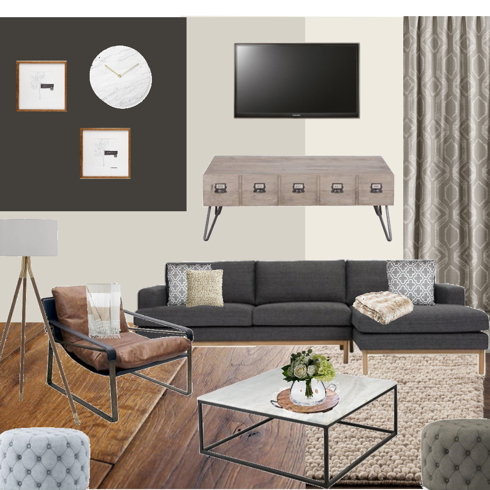 Achromatic Living Room Interior Design Mood Board by ddumeah on Style Sourcebook