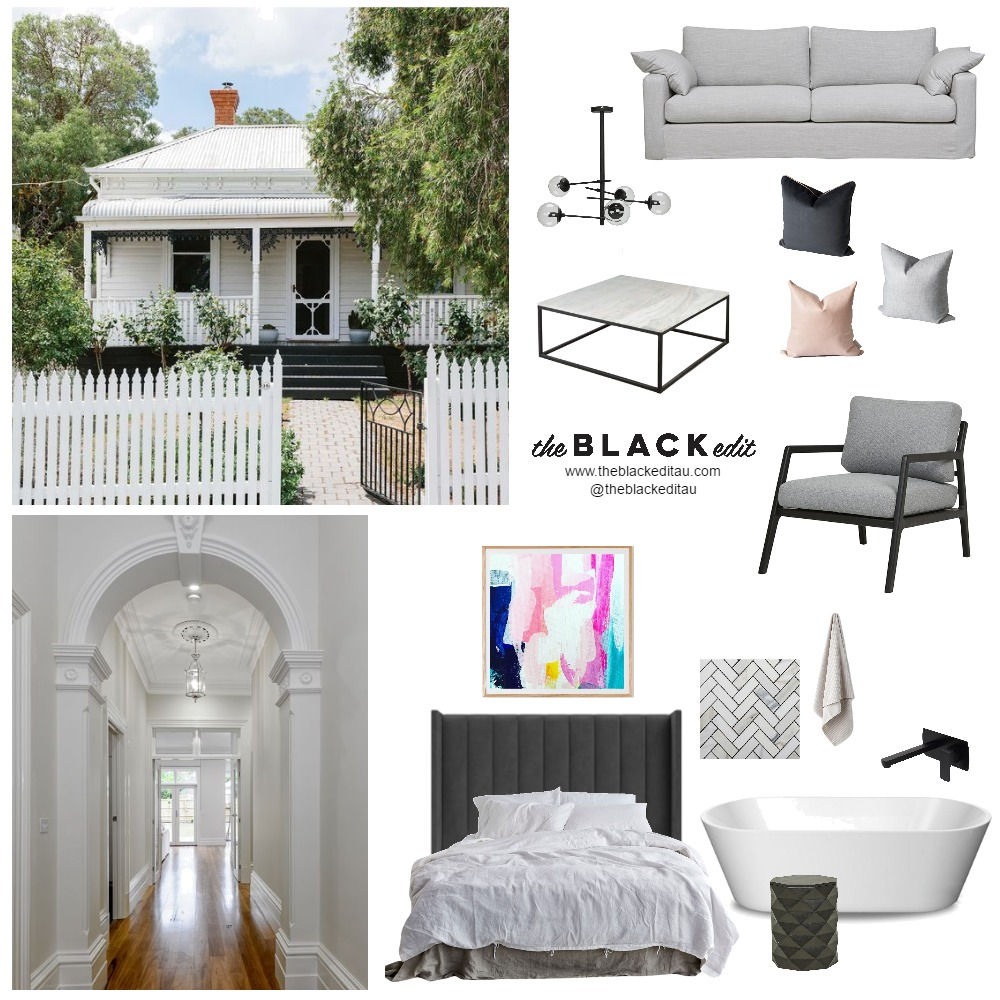 Contemporary Cottage Mood Board by the BLACK edit on Style Sourcebook