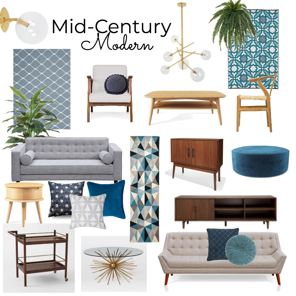 Mid-Century Modern Interior Design Mood Board by brightsidestyling on Style Sourcebook