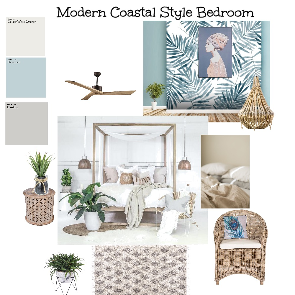 Modern Coastal Style Bedroom Interior Design Mood Board by kime7345 on Style Sourcebook