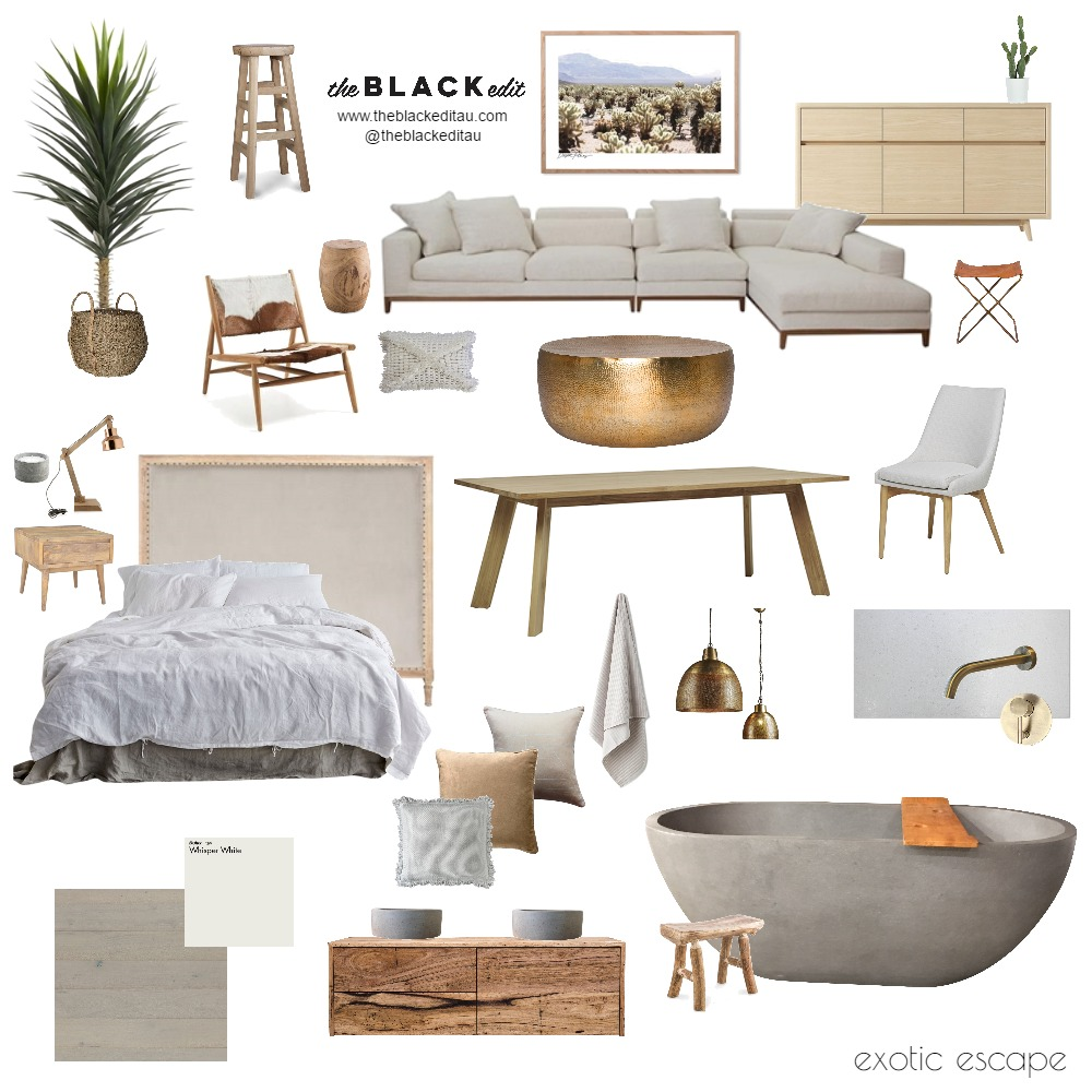 Exotic Escape Mood Board by the BLACK edit on Style Sourcebook