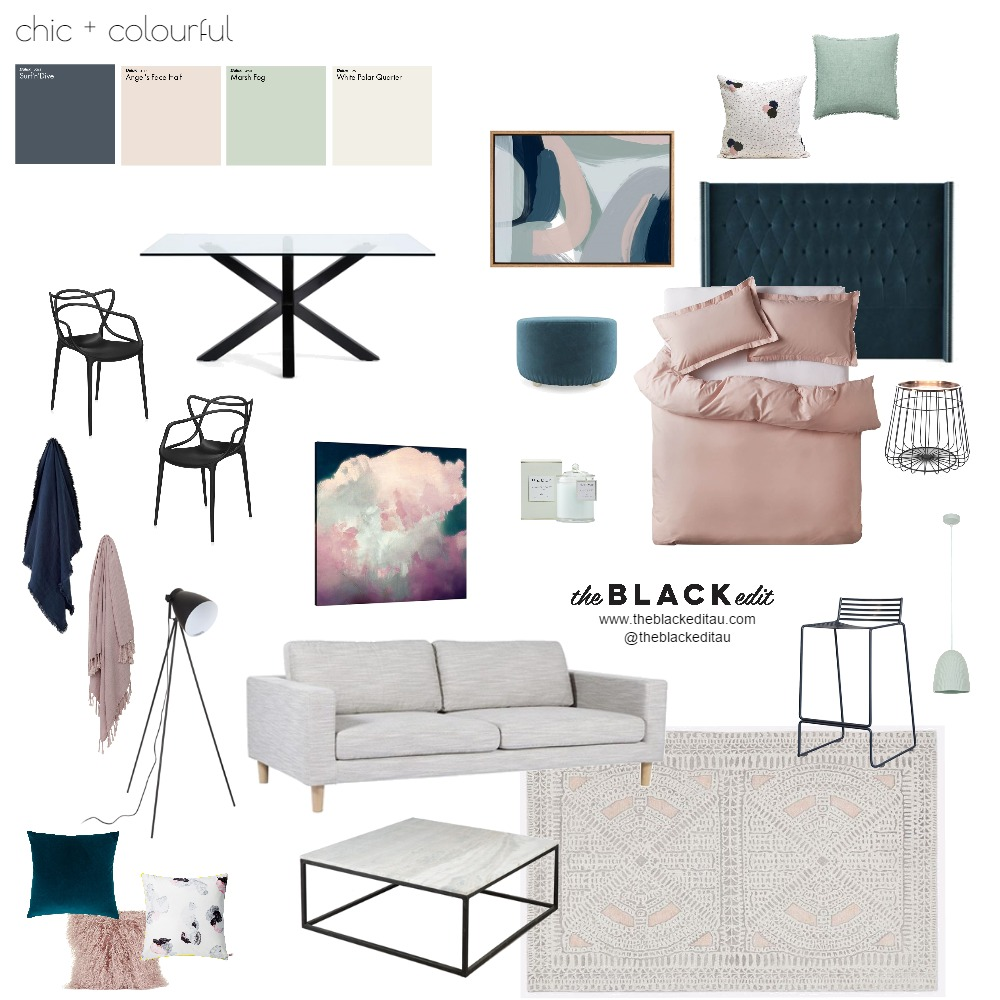 Chic and Colourful Mood Board by the BLACK edit on Style Sourcebook