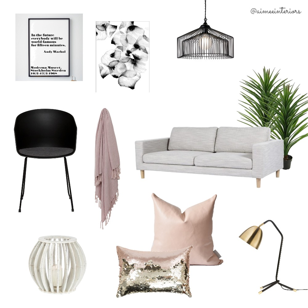 Black Pink Lounge Mood Board by Aimee & Co. Interior Styling on Style Sourcebook