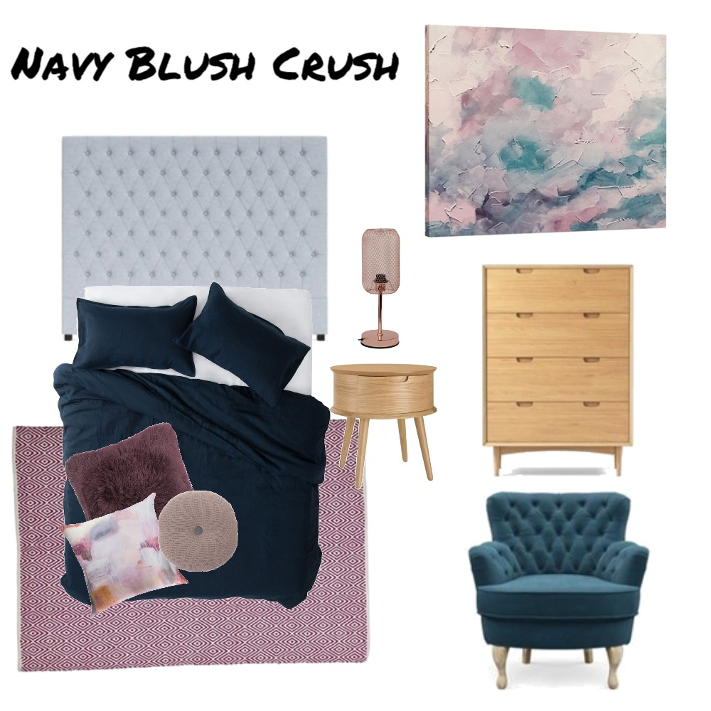 Navy Blush Crush Bedroom Interior Design Mood Board by AnnieJornan on Style Sourcebook