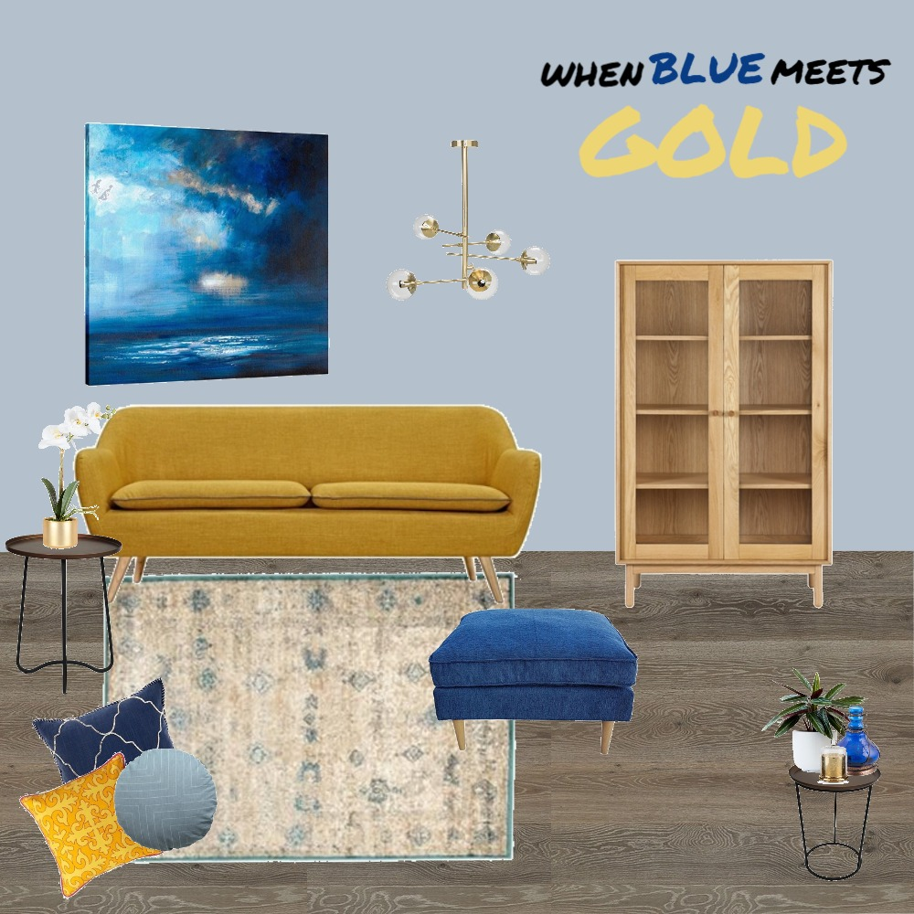 When Blue Meets Gold Mood Board by AnnieJornan on Style Sourcebook