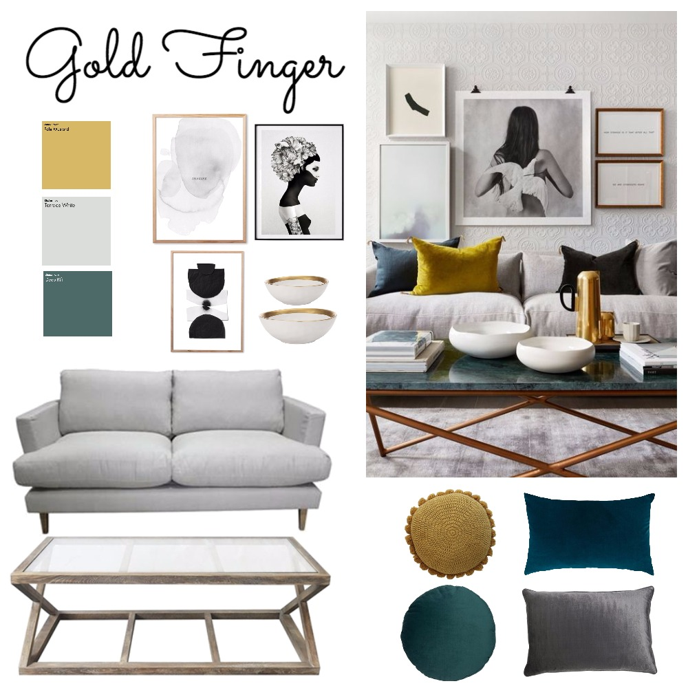 Gold Finger Interior Design Mood Board by ChampagneAndCoconuts on Style Sourcebook