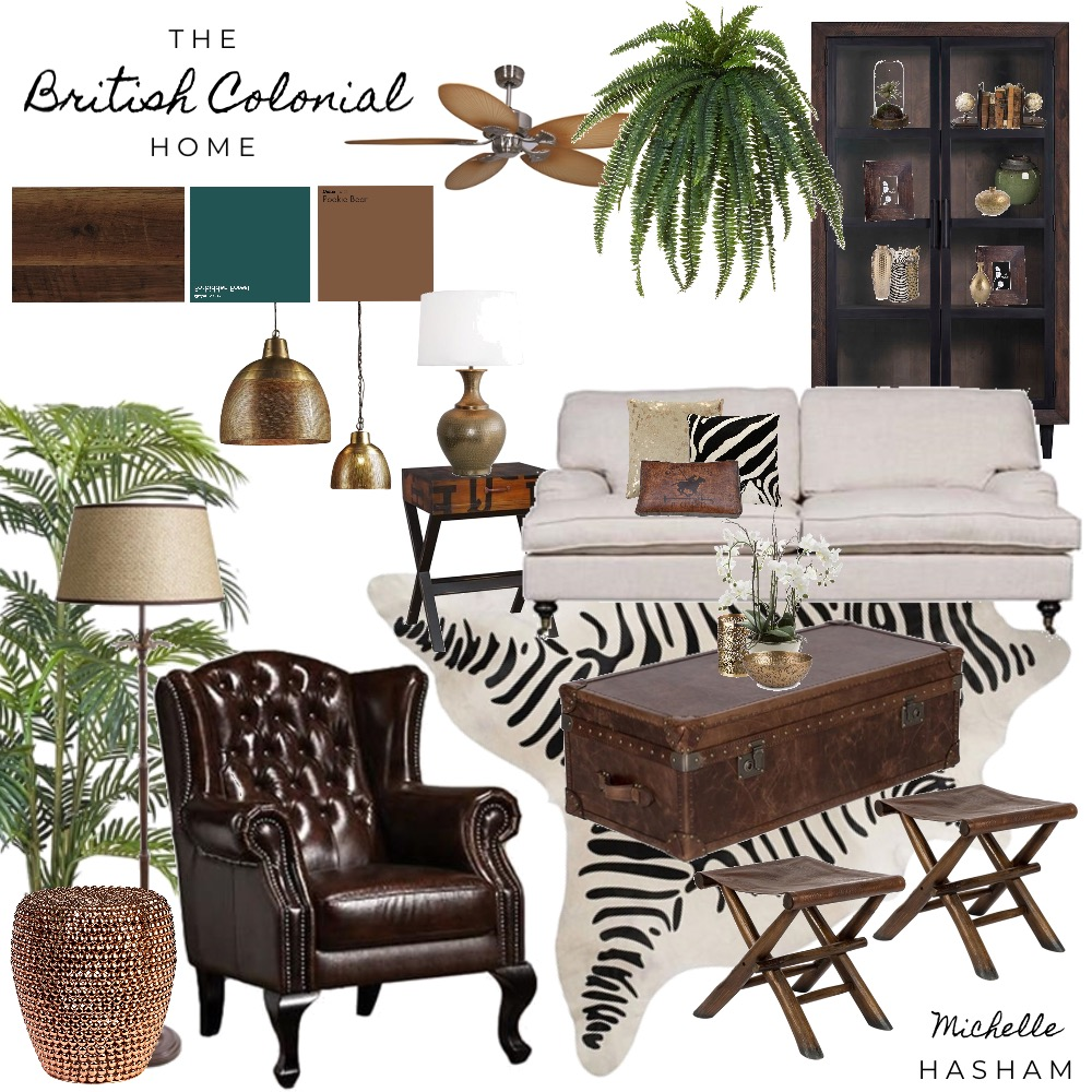 The British Colonial Home Interior Design Mood Board by Michelle Hasham on Style Sourcebook
