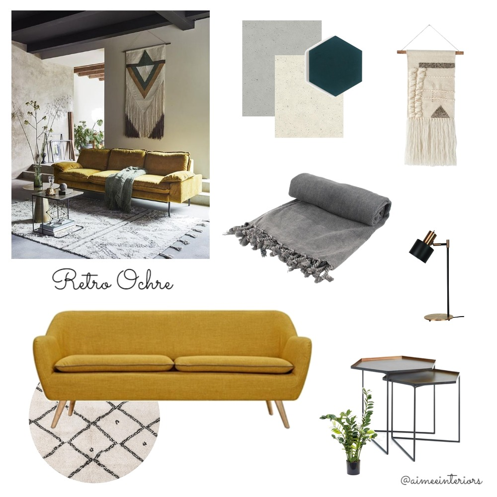 Retro Ochre Mood Board by Aimee & Co. Interior Styling on Style Sourcebook