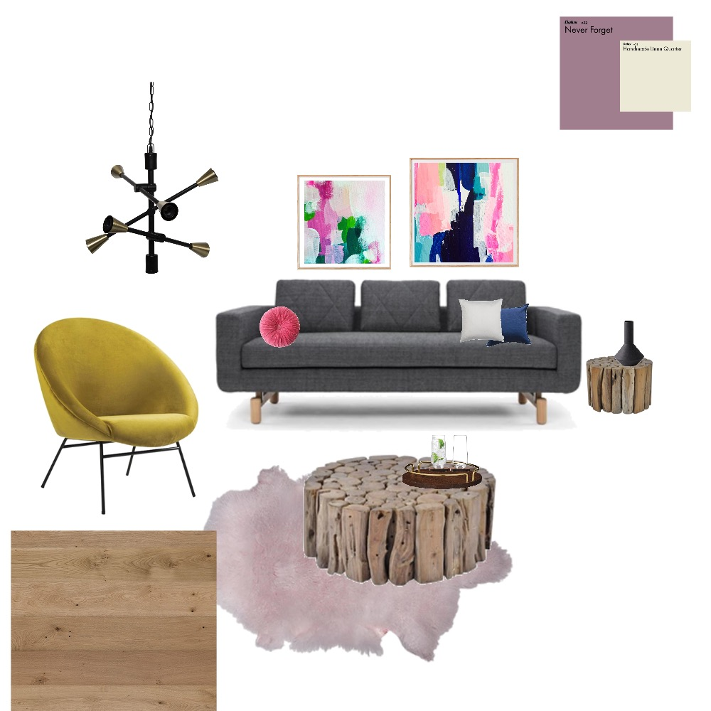Blue/Grey/Pink Rustic Contemporary living room Interior Design Mood Board by farmehtar on Style Sourcebook