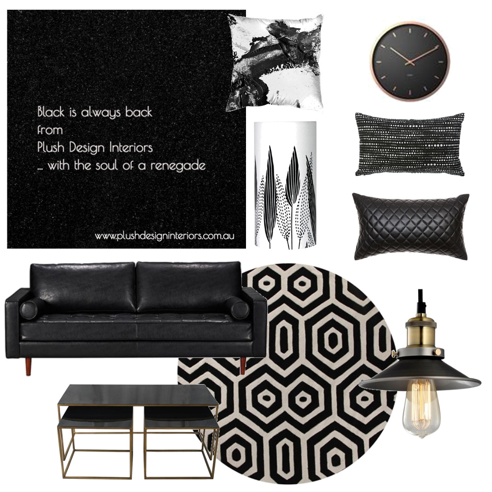 Black is always back with Plush Design Interiors Interior Design Mood Board by Plush Design Interiors on Style Sourcebook