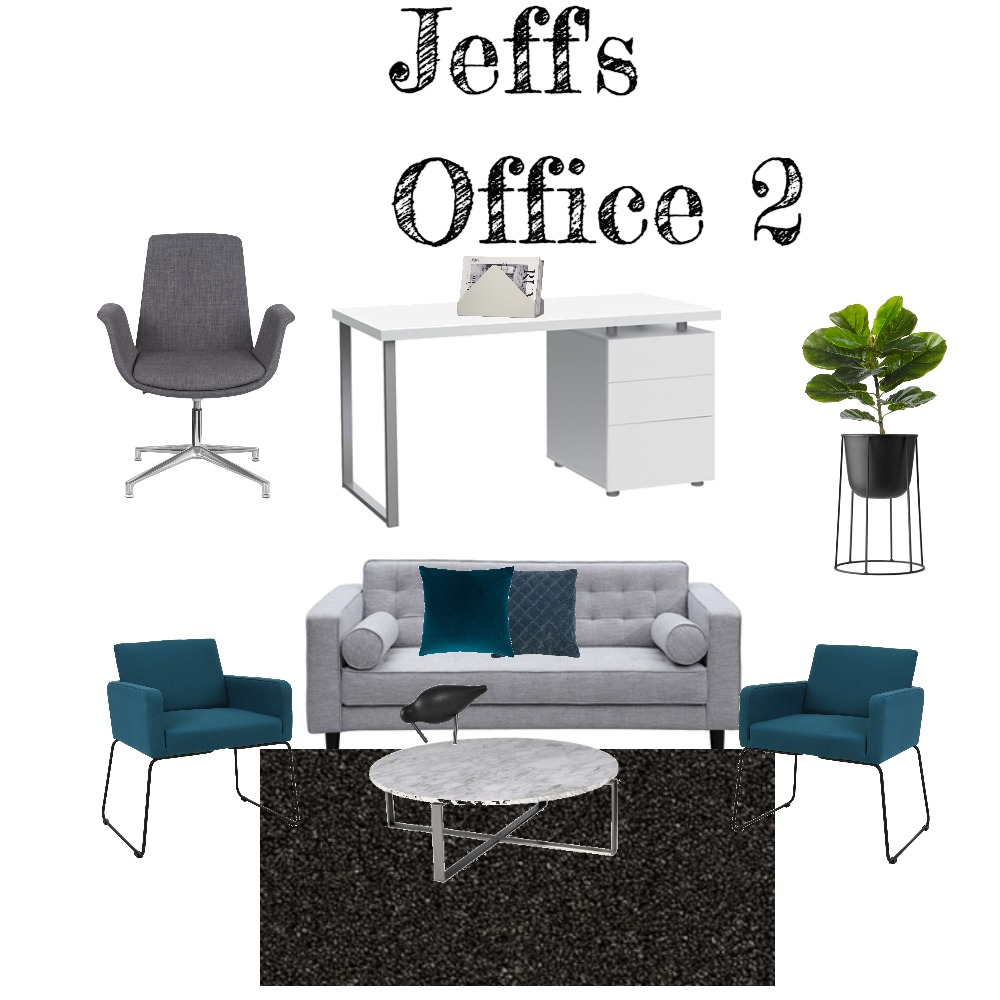 Jeff's Office - grey and teal Interior Design Mood Board by Jillian on Style Sourcebook