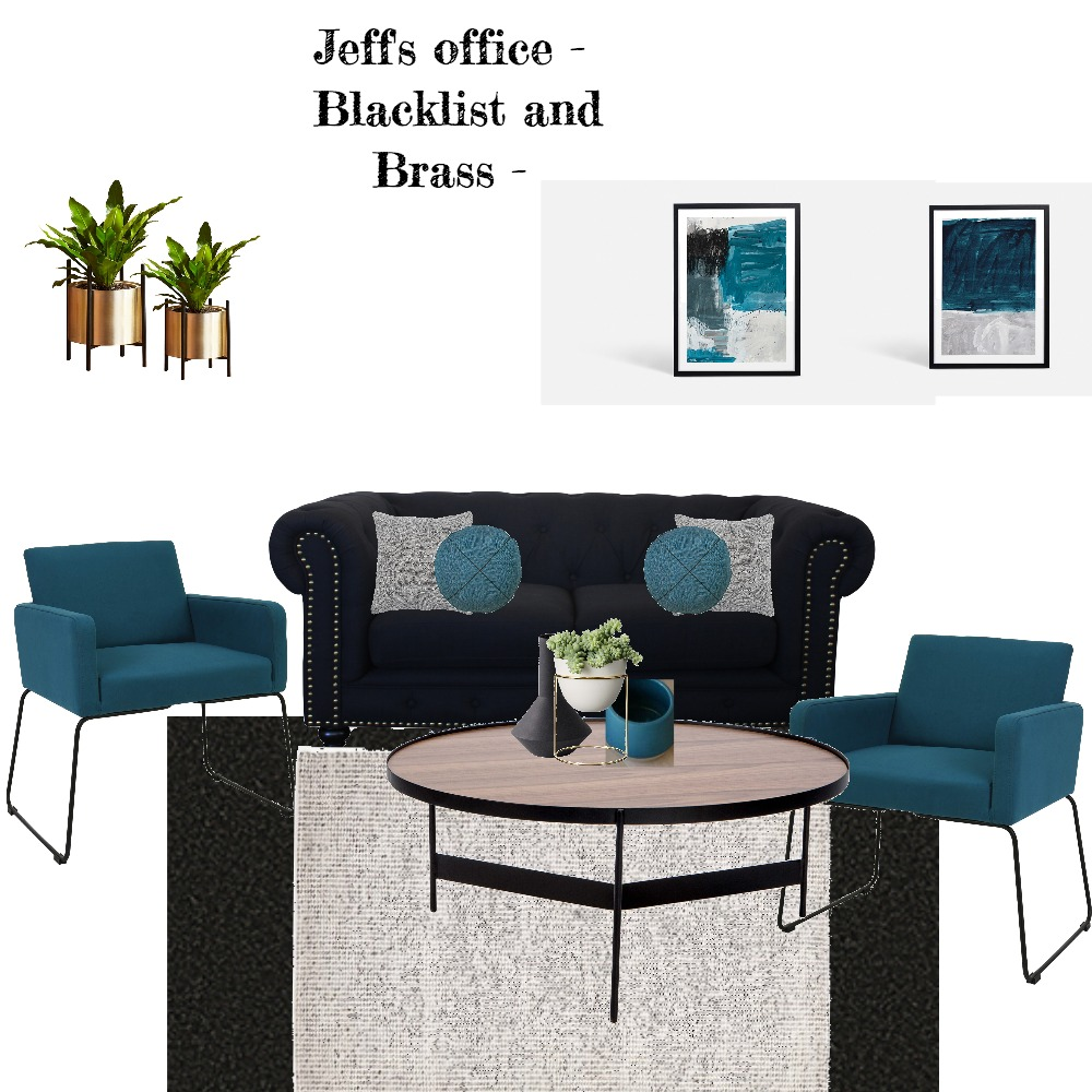 Jeff's Office blacklist and brass Interior Design Mood Board by Jillian on Style Sourcebook