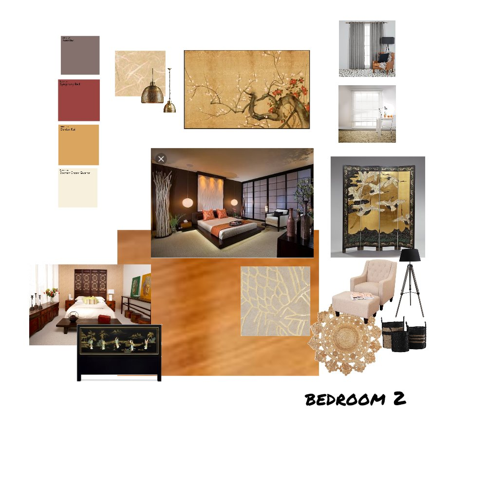 Bedroom 2 - Chinese influence Interior Design Mood Board by Bego on Style Sourcebook