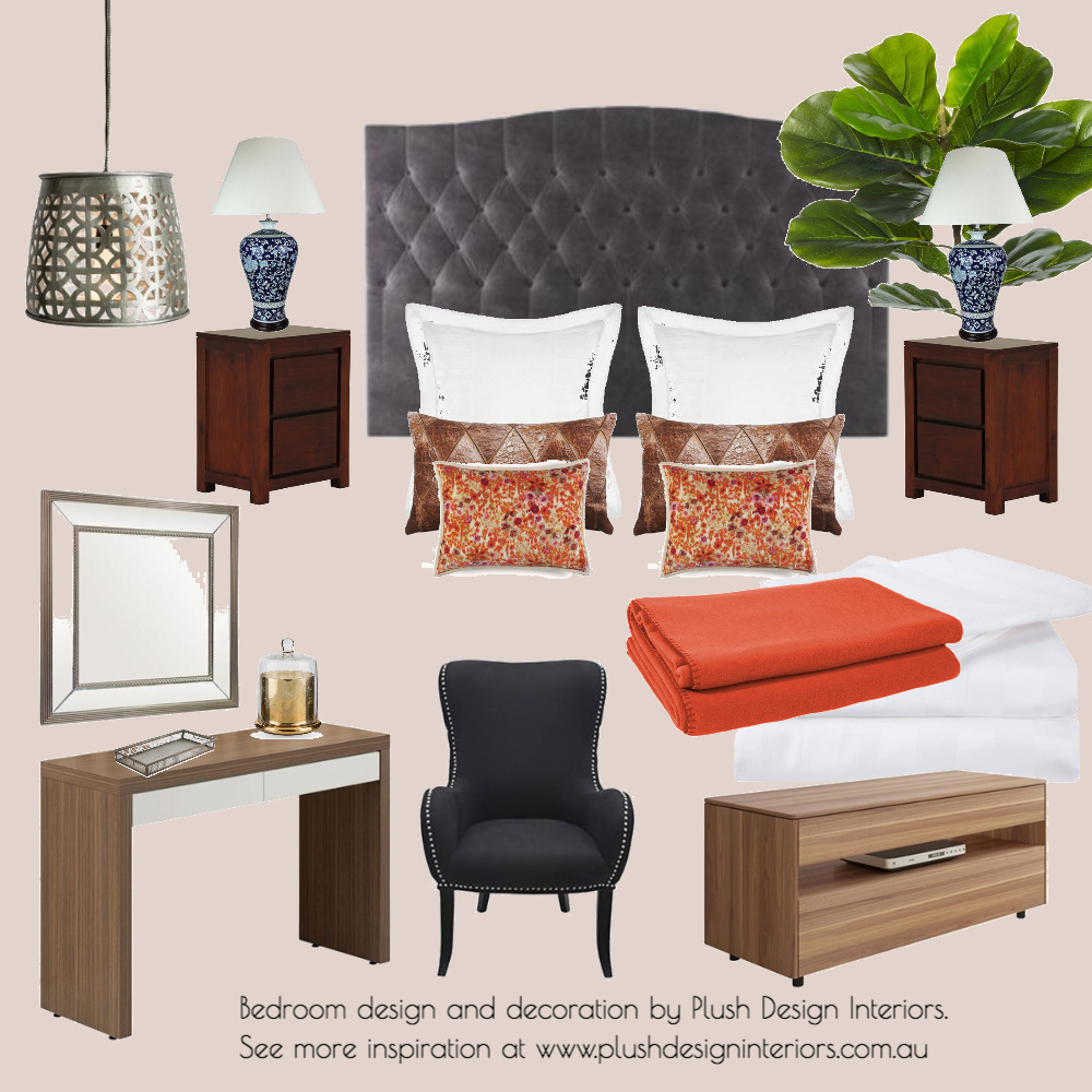 Bedroom Design with in Grey + Orange Interior Design Mood Board by Plush Design Interiors on Style Sourcebook